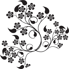 花のイラストフリー素材白黒モノクロno469白黒葉5枚葉