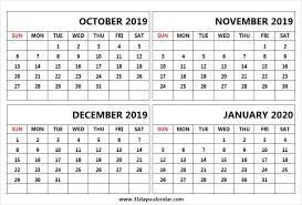Blank Dec 2020 Calendar Print Calendar 2019 October November December 2020 January
