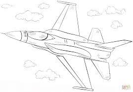 F 16 Fighting Falcon Gevechtsvliegtuig Kleurplaat Gratis