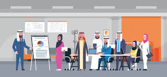Arab Business People Group Meeting Presentation Flip Chart