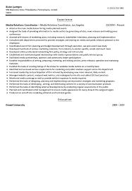 Public Relations Resume Media Relations Coordinator Resume Sample Velvet Jobs