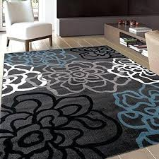 fl area rug contemporary modern flowers rugs 3 gray grey white blue new and striped