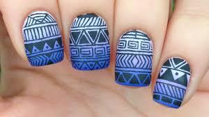 Nail Art Tutorial: Tribal / Aztec Print Over Purple Gradient - YouTube