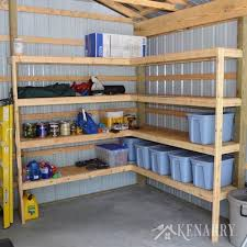build corner shelves for garage storage
