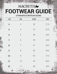 Size Chart Macbeth Philippines Apparel Footwear And More