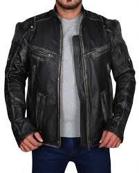 cafe racer men vintage black biker jacket