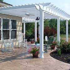 pergola over patio most wanted design white stained finish wooden posts crossbeams ledger joist attached house roof battens terrace decoration