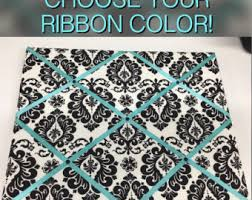 Damask Memo Board Gray Yellow Teal Chevron Memo Board Choose your ribbon color 5