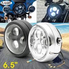 cek harga palight 6 5inch motorcycle led headlight universal high low beam cafe racer silver