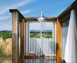 12 shower in california corrugated metal wall