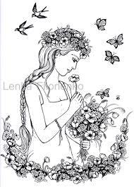 Kleurplaat Voor Volwassenen Kleurplaat Vrouw Met Bloemen Etsy