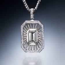 emerald cut floating diamond pendant