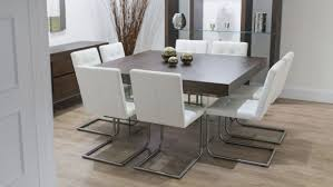 contemporary square dining room table for 8 seats with gl shelves and wooden floor