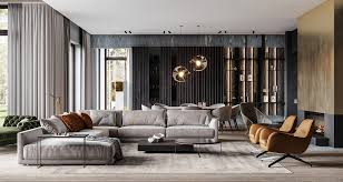 grey gold and green home interior