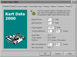 Go Kart Gear Ratio Chart Kart Data 2000 Free Download And Software Reviews Cnet