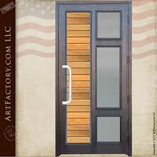 contemporary custom front door solid wood door with glass panels 9996cd
