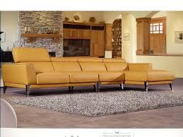 3pcs yellow italian full top grain leather sectional sofa
