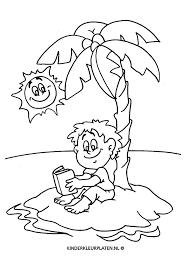 Kleurplaat Eiland Palmboom Boek Vakantie