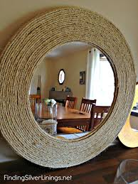 rustic mirror framed by twine