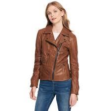 wilsons leather women s brown black rivet asymmetrical lamb moto jacket