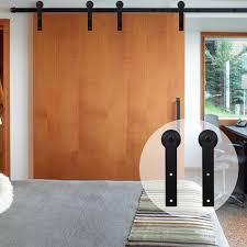 4ft 20ft simple flat shape wood sliding barn door hardware kit for double doors