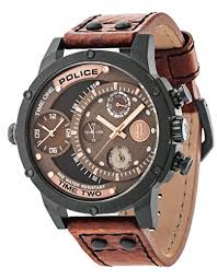 police mens watches uk watches store police men s mechanical watch brown dial analogue display and brown leather strap 14536jsb 12a