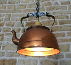 homemade lighting fixtures. Copper Tea Pot With The Bottom Cut Off And Made Into A Pendant Light. Homemade Lighting Fixtures O