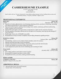 a cashier resume