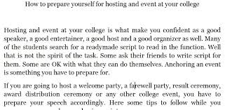 how to prepare yourself for hosting an event at your college  some tips to prepare for your college event hosting speech