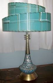 mid century modern aqua teal turquoise and gold table lamp vintage lampsvintage lightingantique