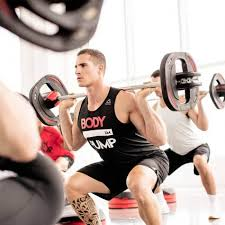 using light to moderate weights with lots of repeion bodypump gives you a total body workout it will burn up to 540 calories