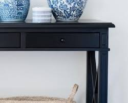 Black sofa table with drawers Wood Lavender Hill Interiors Black Console Table Drawers
