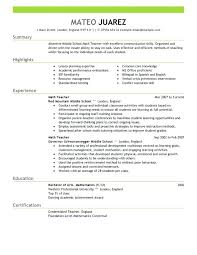Teacher Resume Examples – Districte15.info