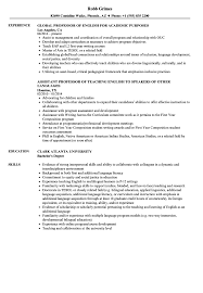 Sample Professor Resume English Professor Resume Samples Velvet Jobs