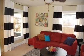 decorations great looking small living room design with cream wall paint and red leather sofa also stripped black white curtain idea make your rooms great