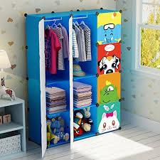 kids hanging closet organizer.  Closet KOUSI Portable Clothes Closet Wardrobe Freestanding Cute Cartoon Storage  Organizer With Doors For Kids Large Space On Kids Hanging O