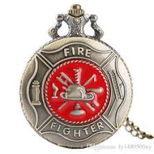 firefighter gifts nz retro antique bronze fire fighter quartz pocket watch fashion red firefighter symbol
