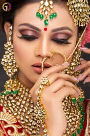 exclusive bridal makeup hd with air brush hair styling nail art application coloured lenses and d