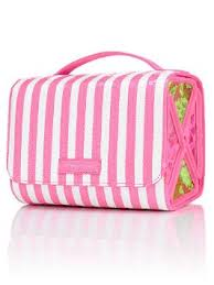 get ations victoria s secret stripe bling sequin hanging travel train case makeup bag