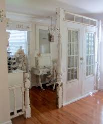 Room divider made from reclaimed old doors