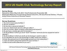 Health And Fitness Survey Questions Fitc 2014 Fitness Professional Technology Survey Report