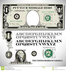 Design Your Own Dollar Bill Template One Dollar Bill Parts With An Alphabet Stock Vector