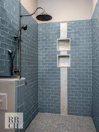 Colored Subway Tile Shower With Separate Niches And Feature Listel Subway Tile Showers Shower Tile Bath Tiles