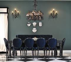 inspiring blue leather dining room chairs and blue leather french dining settee with round salvaged wood