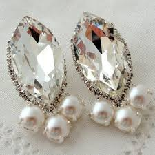 clear crystal and pearls swarovski chandelier earrings extra large stud earring bridal earrings