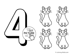 4 Numbers Coloring Pages For Kids