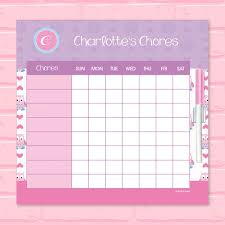 Chore Lists For Teens Owl Love Chore Chart
