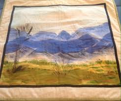 Mountains' Articles at Hand painted art Fabric for quilts, home ... & To use hand painted landscape fabric as quilt wall art Adamdwight.com