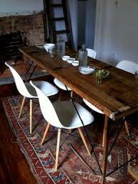 modern and rustic dining table this is a look i am drawn to the shape of the modern chairs with the more rustic table i would want a bit of color