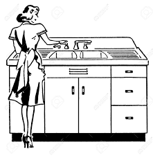 kitchen sink clipart black and white. a black and white version of vintage illustration woman washing dishes stock kitchen sink clipart